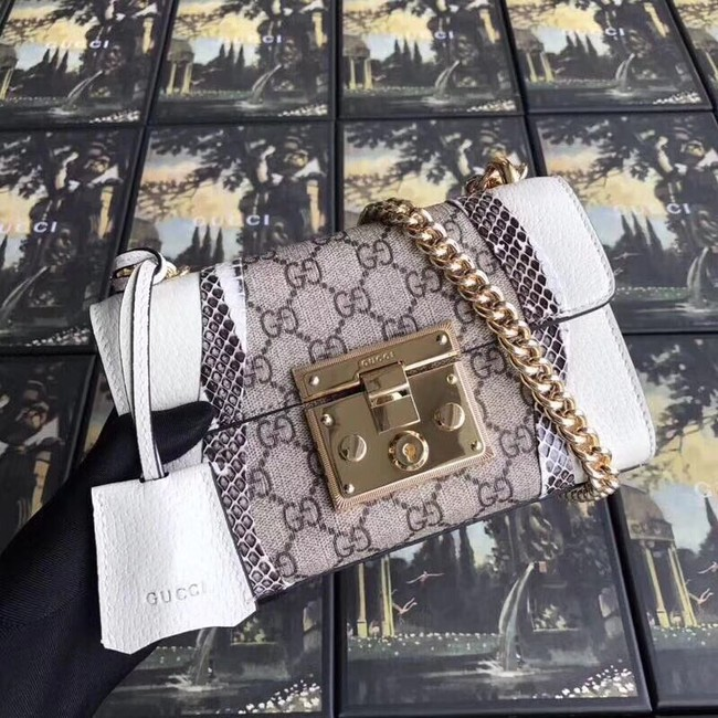 Gucci Padlock snakeskin small shoulder bag 432182 white