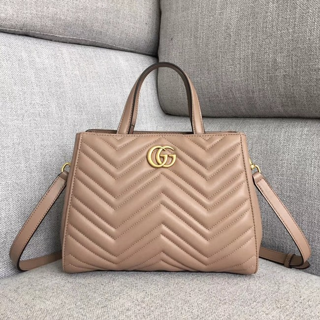 Gucci GG Marmont small top handle bag 448054 Dark Pink