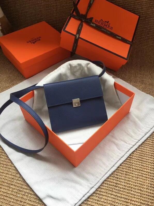 Hermes Clutch Epsom calfskin H0589 Dark Blue
