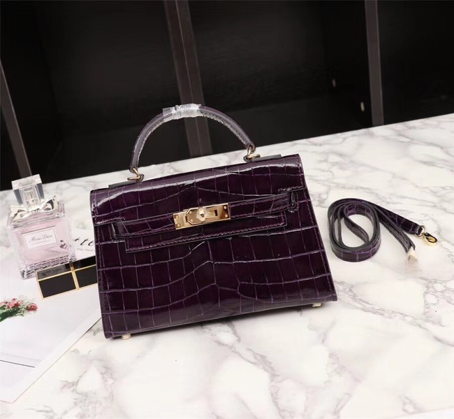 Hermes Kelly 19cm Tote Bag crocodile Leather KL19 purple