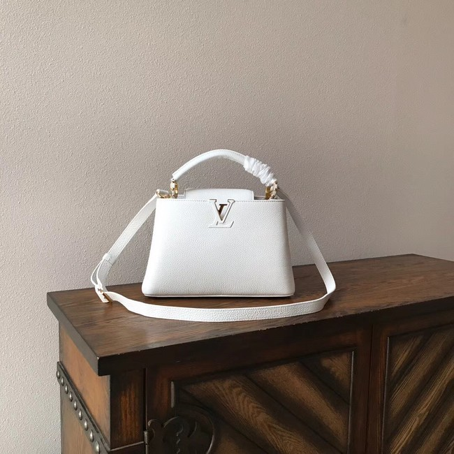 Louis vuitton original taurillon leather Capucines PM M48865 white