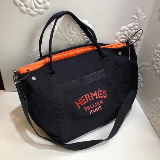 Hermes Canvas Shopping Bag H0734 black