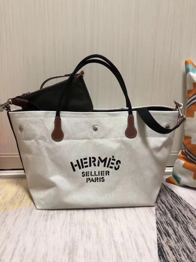 Hermes Canvas Shopping Bag H0734 white