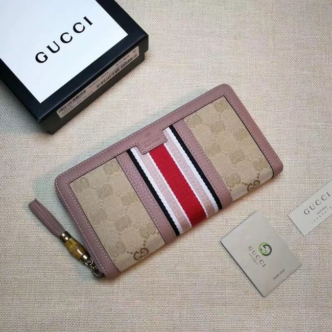 Gucci GG canvas zipper wallet 353651 light pink