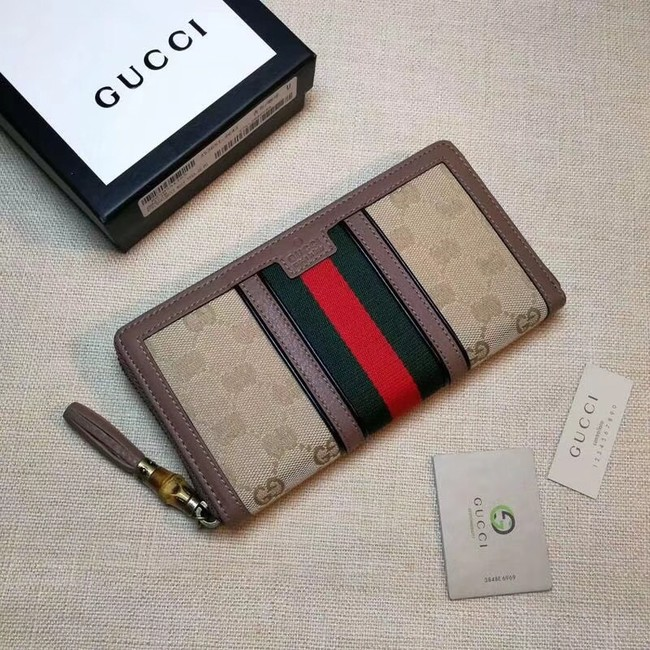 Gucci GG canvas zipper wallet 353651 dark pink