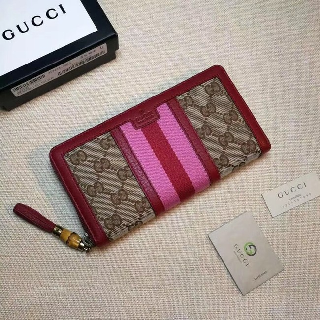 Gucci GG canvas zipper wallet 353651 red