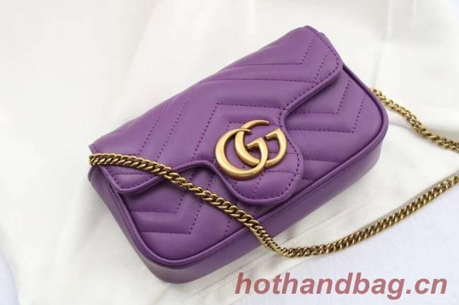 Gucci GG Marmont matelasse leather super mini bag 476433 purple