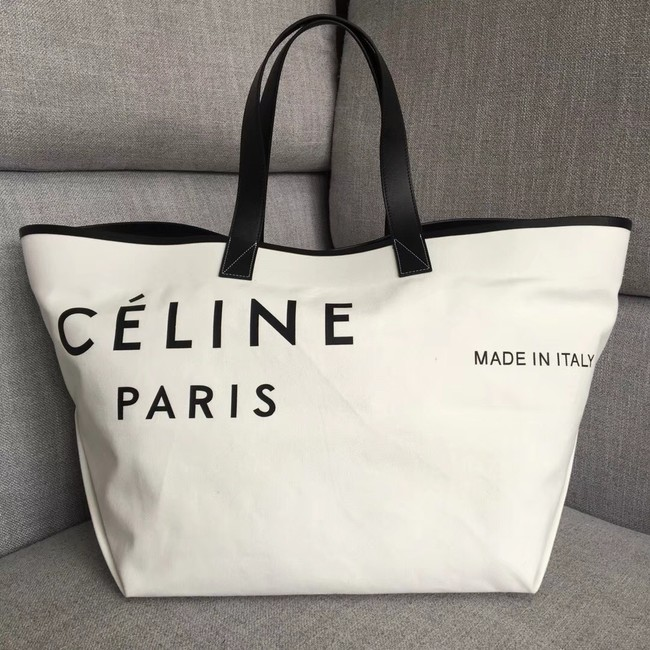 CELINE MEDIUM MADE IN TOTE IN TEXTILE 83180 WHITE & BLACK
