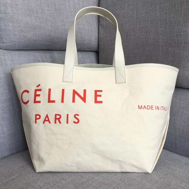 CELINE MEDIUM MADE IN TOTE IN TEXTILE 83180 WHITE & RED