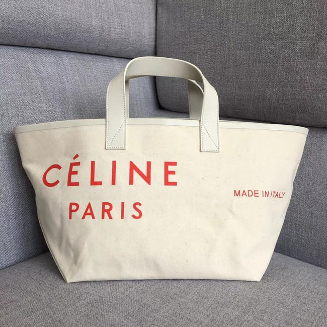 CELINE SMALL MADE IN TOTE IN TEXTIL 83181 WHITE & RED