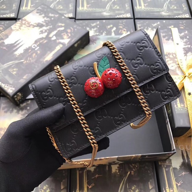 Gucci Signature mini bag with cherries 481291 Black