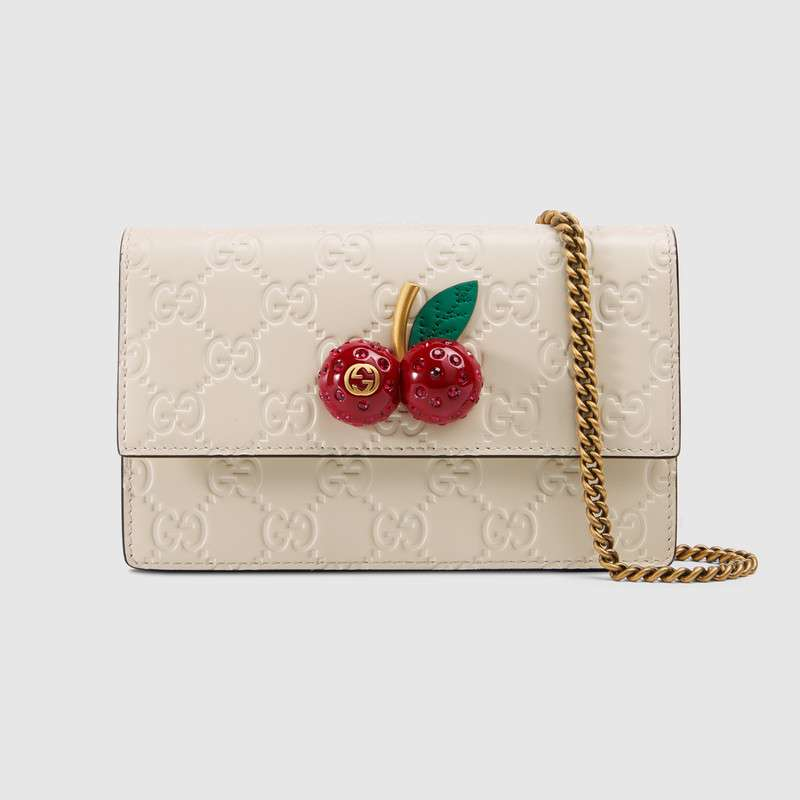 Gucci Signature mini bag with cherries 481291 White