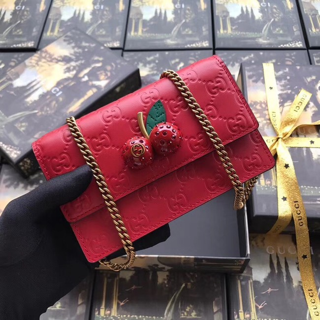 Gucci Signature mini bag with cherries 481291 red