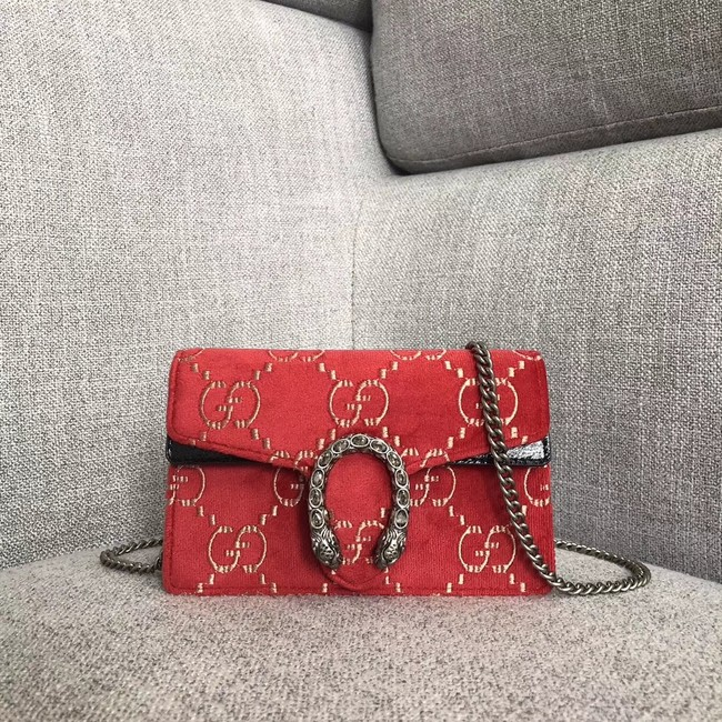 Gucci Dionysus GG velvet super mini bag 476432 red