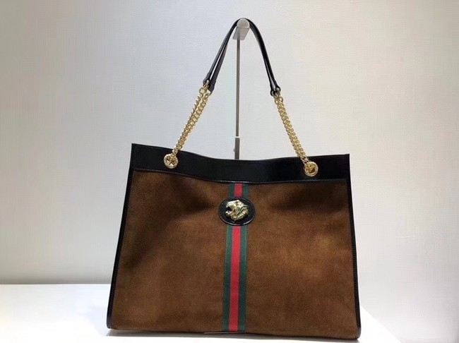 Gucci Large tote with tiger head 537219 brown