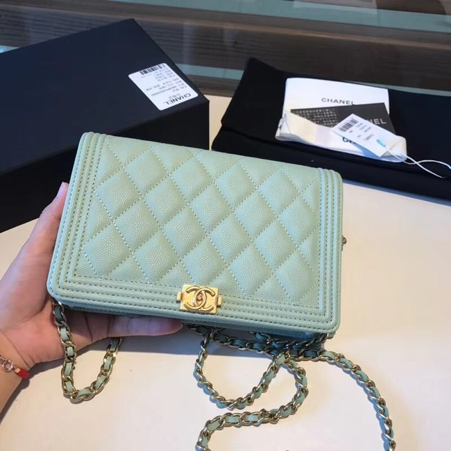 BOY CHANEL Original Wallet on Chain A80287 Light green