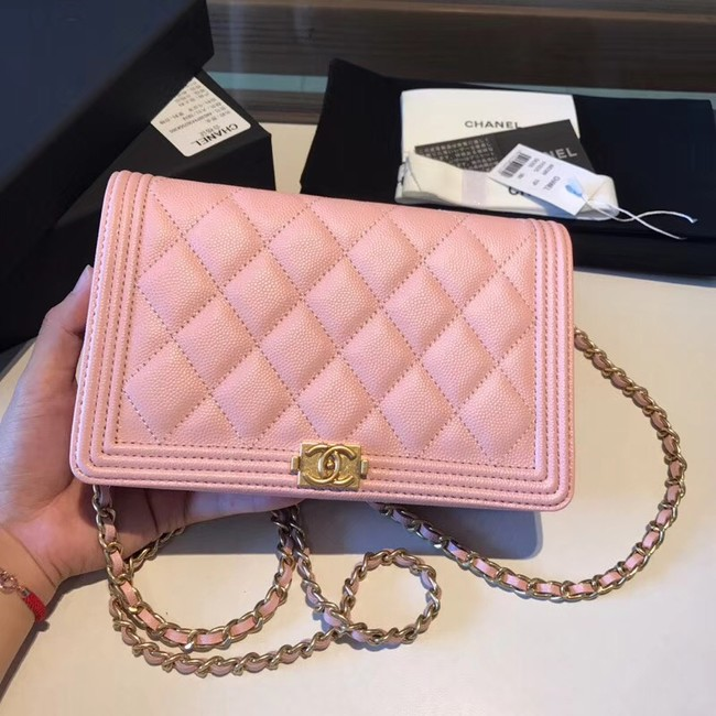 BOY CHANEL Original Wallet on Chain A80287 Pink