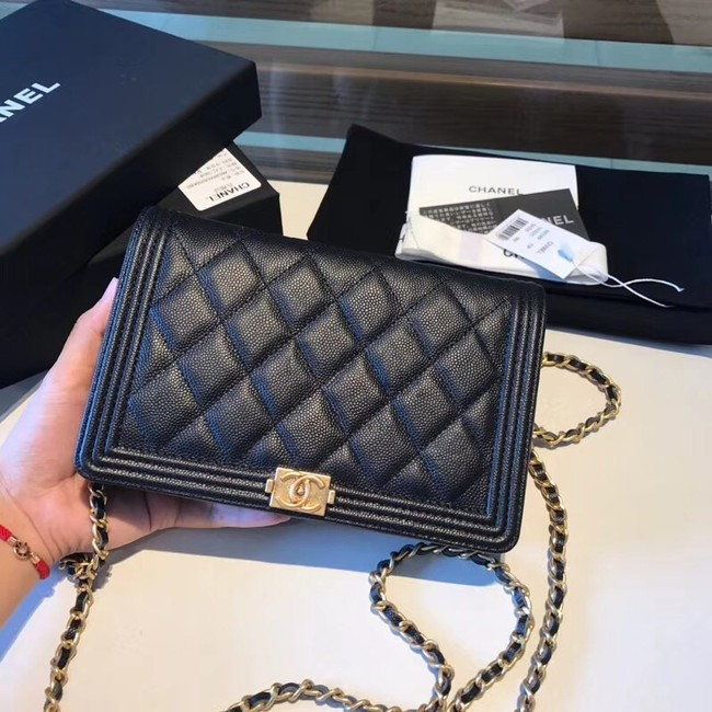 BOY CHANEL Original Wallet on Chain A80287 black
