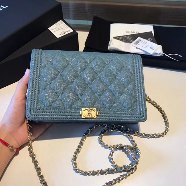 BOY CHANEL Original Wallet on Chain A80287 blue