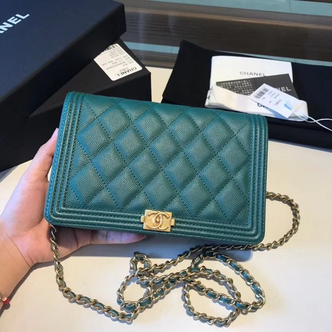 BOY CHANEL Original Wallet on Chain A80287 green