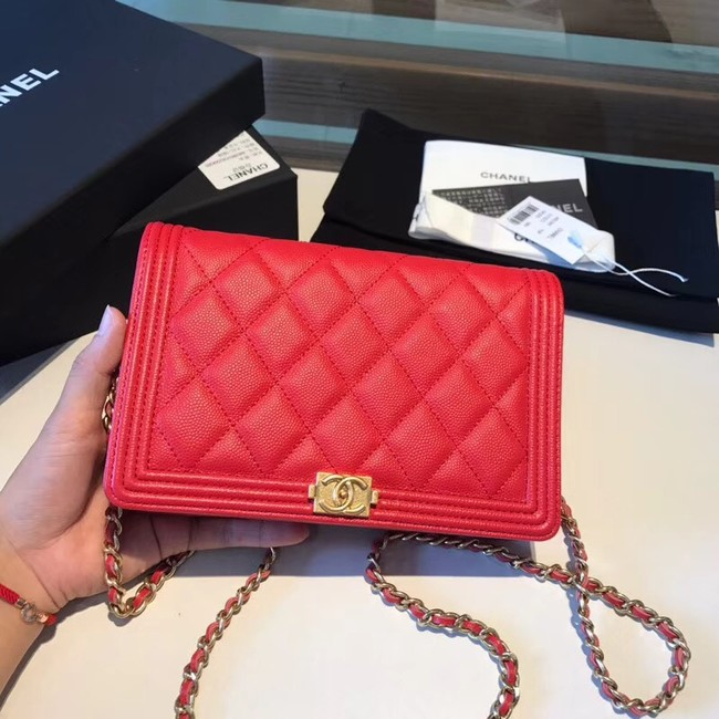 BOY CHANEL Original Wallet on Chain A80287 red