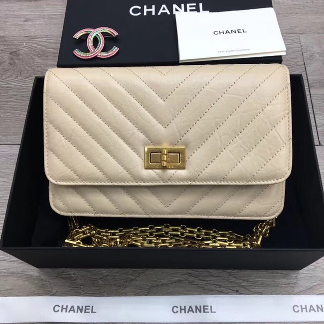 Chanel 2.55 Wallet on Chain A70328 creamy-white