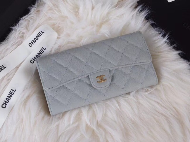 Chanel Classic Flap Wallet A31506 grey Gold-Tone Metal