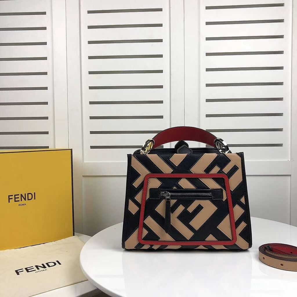 Fendi KAN I LOGO Handbag 8BS087 black&pink