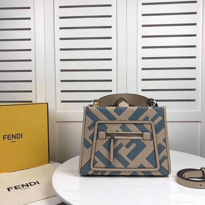 Fendi KAN I LOGO Handbag 8BS087 grey&Light blue