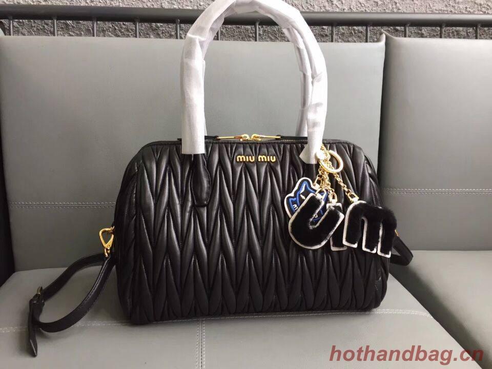 Miu Miu Matelasse Nappa Leather Top-handle Bags 5BB033 black