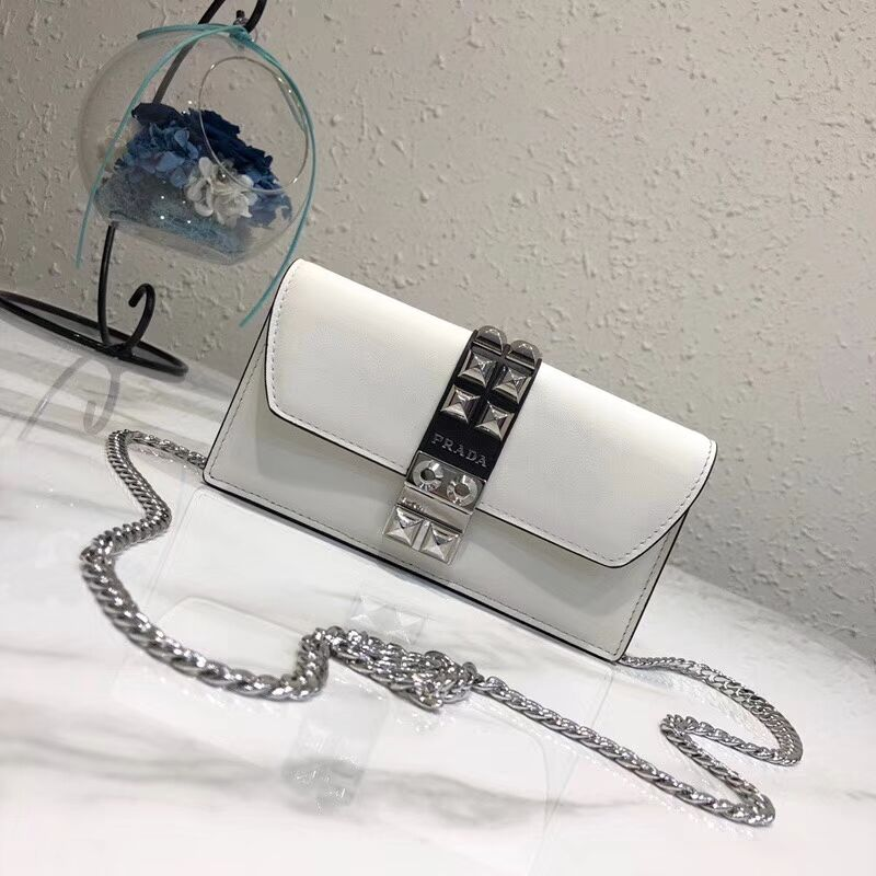 Prada Elektra Leather Mini Bag 1ZH061 white