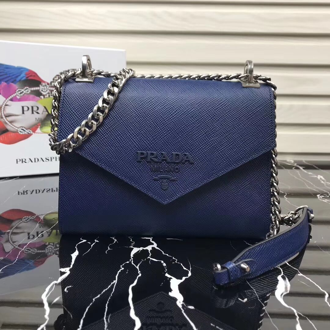Prada Monochrome Saffiano leather bag 1BD127 blue