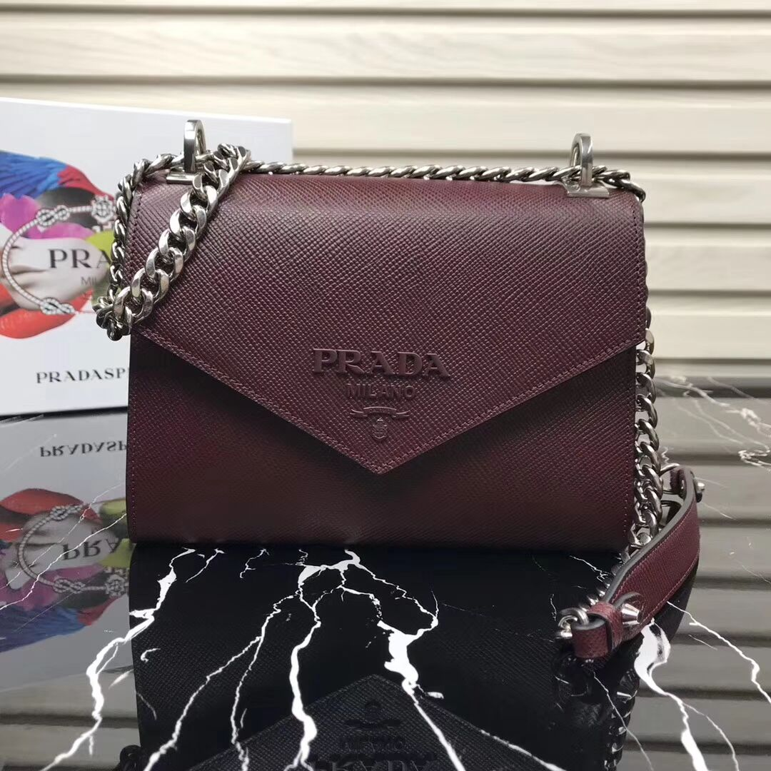 Prada Monochrome Saffiano leather bag 1BD127 fuchsia