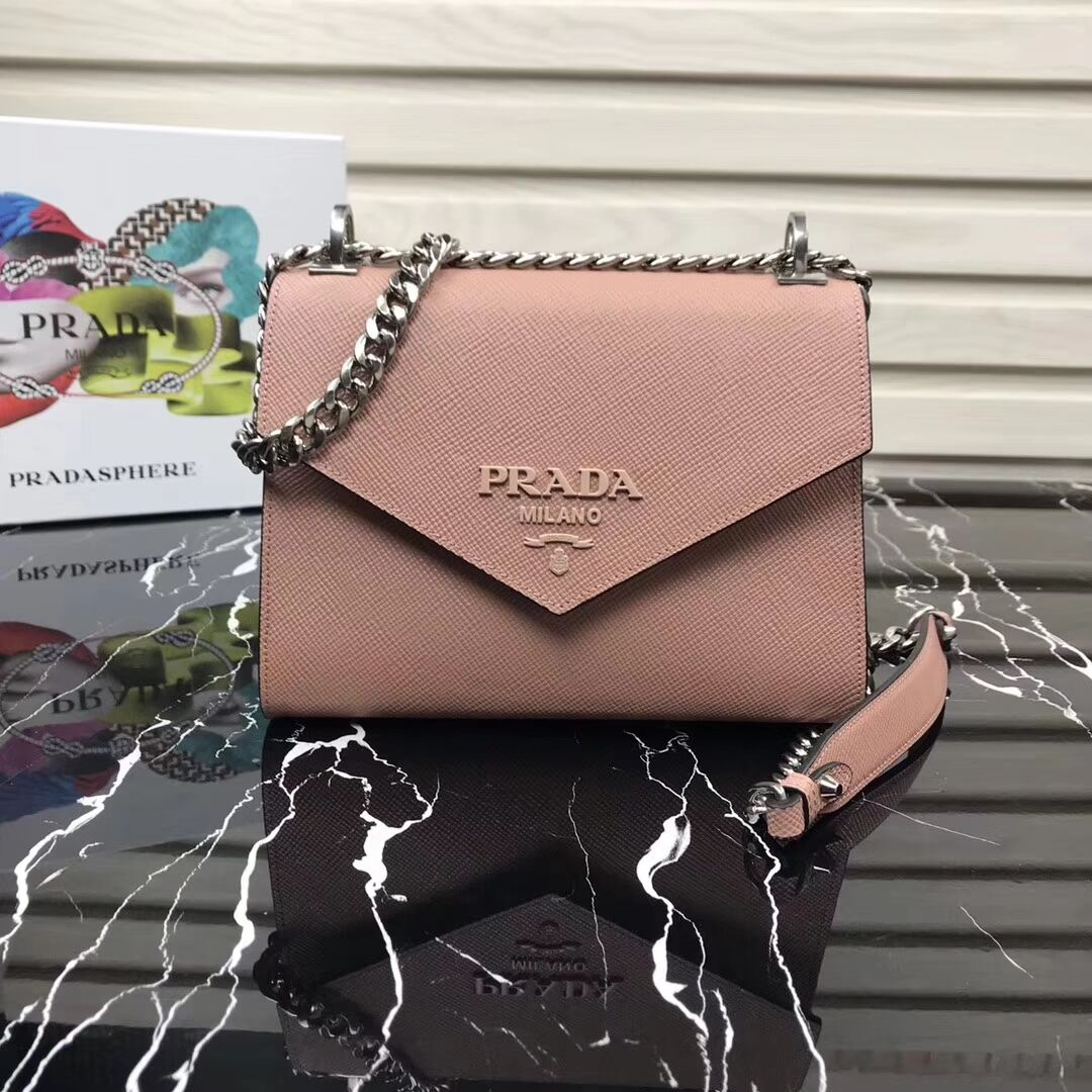 Prada Monochrome Saffiano leather bag 1BD127 light pink