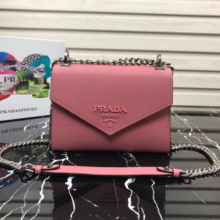 Prada Monochrome Saffiano leather bag 1BD127 pink