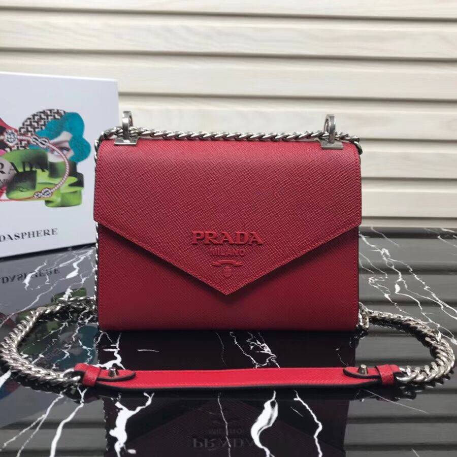 Prada Monochrome Saffiano leather bag 1BD127 red