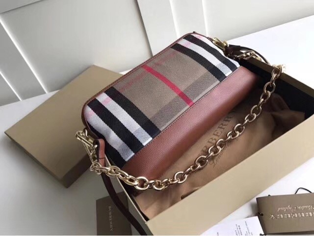 Burberry Calfskin Leather Should Bag 41711 brown