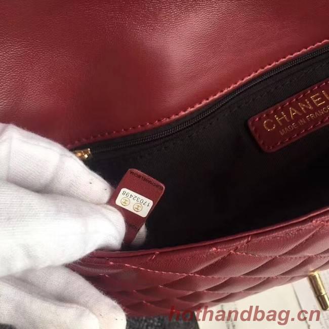CHANEL Original Clutch Lambskin A57650 red