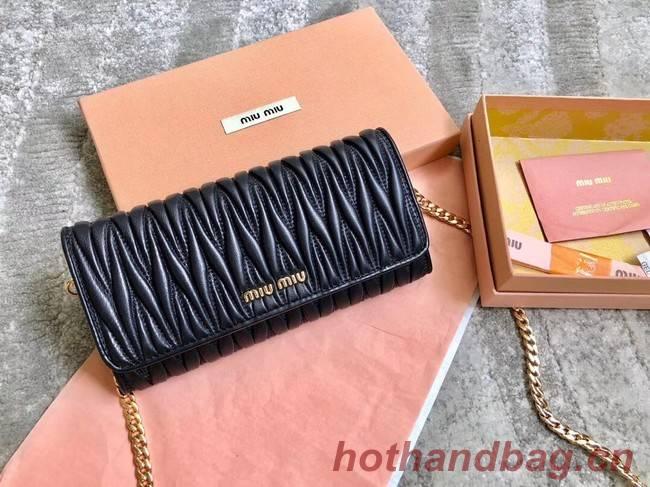miu miu Matelasse Nappa Leather Clutch 5DH002 black