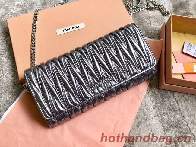 miu miu Matelasse Nappa Leather Clutch 5DH002 grey