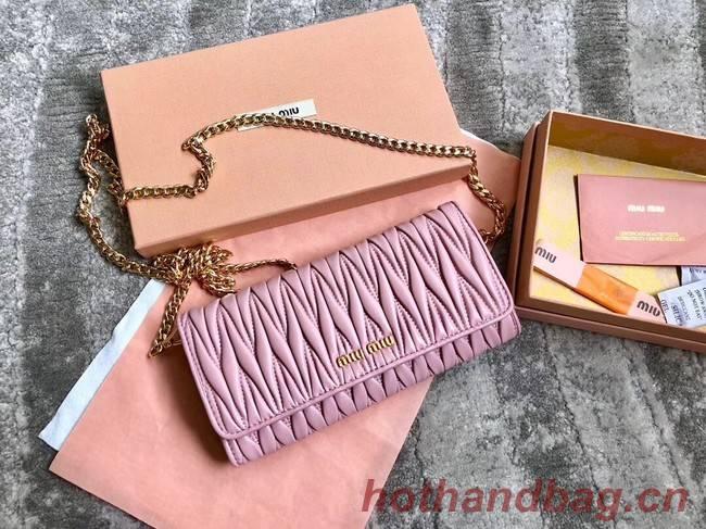 miu miu Matelasse Nappa Leather Clutch 5DH002 pink
