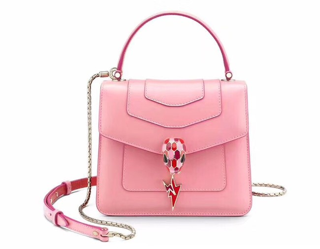 BVLGARI Serpenti Forever leather flap bag 286999 pink