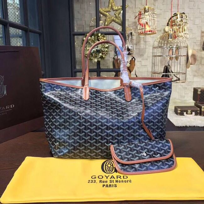 Goyard Y Doodling Calfskin Leather Tote Bag 36987 dark blue