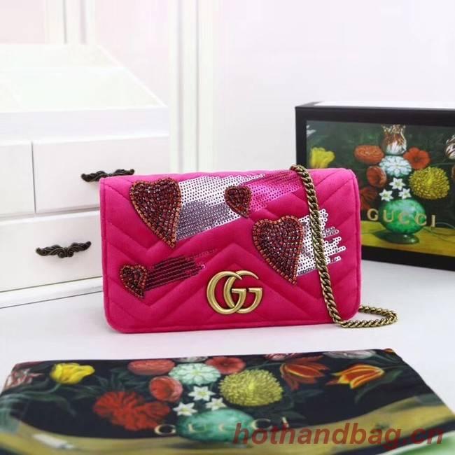 Gucci Dionysus GG Velvet leather mini Shoulder Bag 488426 plum