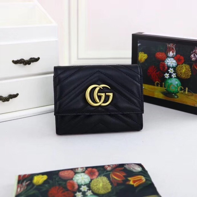 Gucci GG Marmont Velvet leather matelasse wallet 474802 black