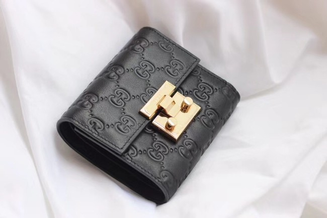 Gucci Leather french flap wallet 453155 black