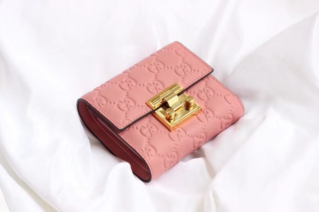 Gucci Leather french flap wallet 453155 pink