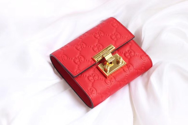 Gucci Leather french flap wallet 453155 red