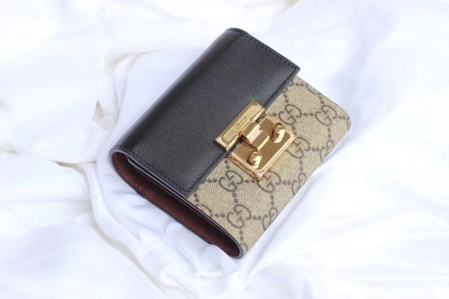 Gucci Leather french flap wallet A453155 black