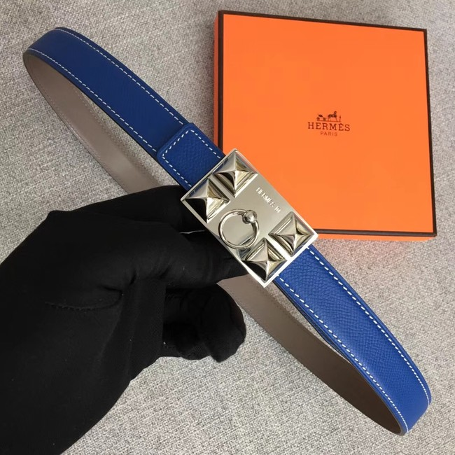 Hermes Collier de Chien belt buckle & Reversible leather strap 24 mm H0521 blue